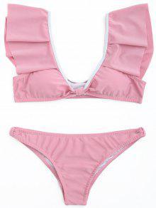 Juego De Bikini Cucharada Volante - Rosa Oscuro S