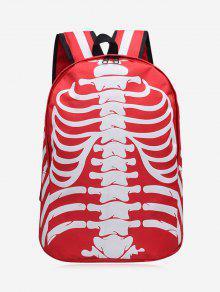حقيبة ظهر مخططة على شكل هيكل عظمي ذو لون ساطع - أحمر