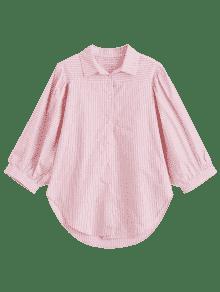 Las De M Rayas Camisa Rosado Batwing Del qU5wxd4