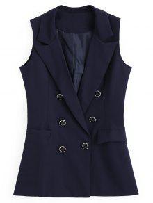 مزدوجة الصدر جيوب غير المتناظرة صدرية - الأرجواني الأزرق L