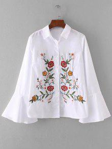 2018 flower embroidered shirt in white s zaful white mightylinksfo