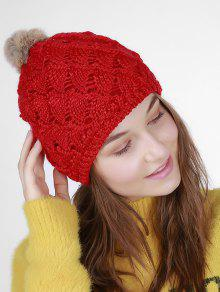 cb63631f838 22% OFF  2019 Fan Shape Crochet Knit Pom Hat In RED