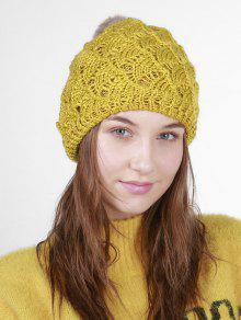 Fan Forma De Ganchillo Knit Pom Hat - Mostaza