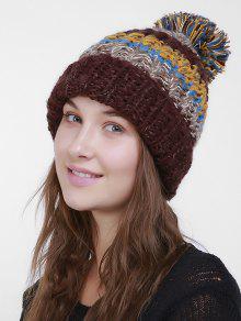 ... Color Block Flanging Crochet Knit Pom Hat