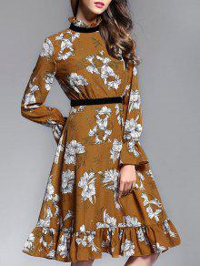Vestido De Cuello Volante Con Estampado Floral - Jengibre S