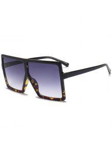 نظارات شمسية كبيرة بعدسات مربعة وإطار كامل - أسود + ليوبارد C2