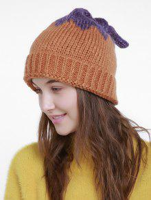 Sombrero De Punto De Navidad De Forma De Hoja De Loto - Naranja Marrón