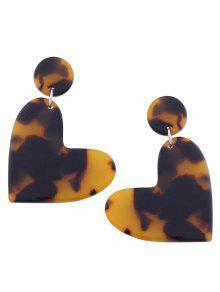 Boucles D'oreilles En Acrylique Round Heart - Brun