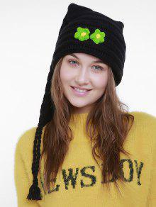 Chapeau En Tricot De Noël à Petite Fleur Longue Queue - Noir