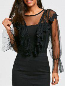 Blusa Bordada Con Top Cami - Negro
