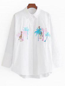 Chemise à Patch Brodé De Girafe Palm Tree - Blanc S