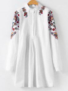 الأزهار مطرز بلوزة مطوي طويل - أبيض L