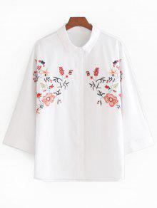 La Flor Remendó El Botón Para Arriba La Camisa - Blanco S