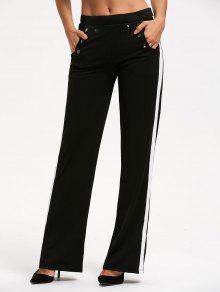 عارضة اللون تقليم السراويل مستقيم مع جيب - أسود 2xl