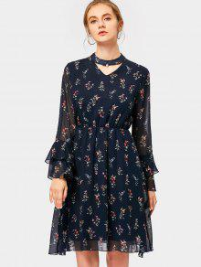 Tiered Flare Sleeve Floral Print Keyhole Dress - PURPLISH BLUE M