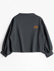 Sweat-shirt à Badge Patché Manches Lanternes - Gris Foncé