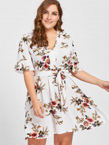 فستان الحجم الكبير مربوط طباعة الازهار - أبيض 4xl