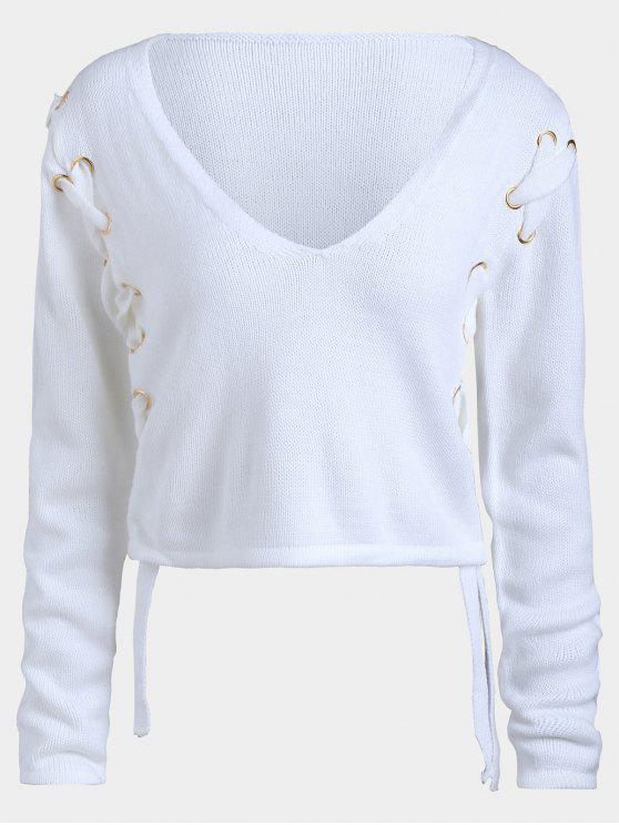 women Short Lace Up V Neck Sweater - WHITE M