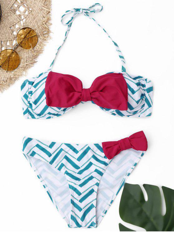 Juego de Bikini Strapless Bowknot - Azul Claro L