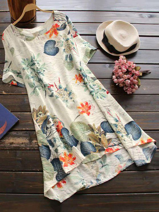 fashion Printed Cotton Shift Dress - OFF-WHITE ONE SIZE