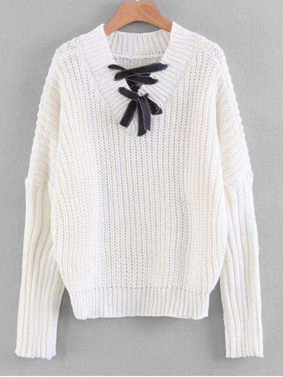 womens Lace-up Chunky Sweater - OFF-WHITE ONE SIZE