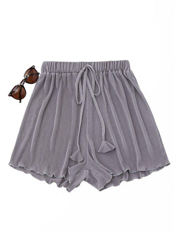 affordable Pleated Cover-Up Shorts - GRAY ONE SIZE