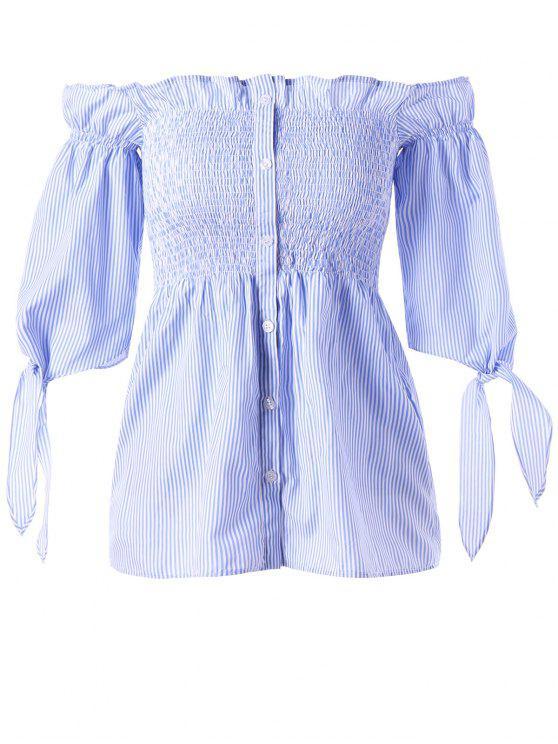 sale Button Up Striped Off The Shoulder Blouse - BLUE STRIPE L