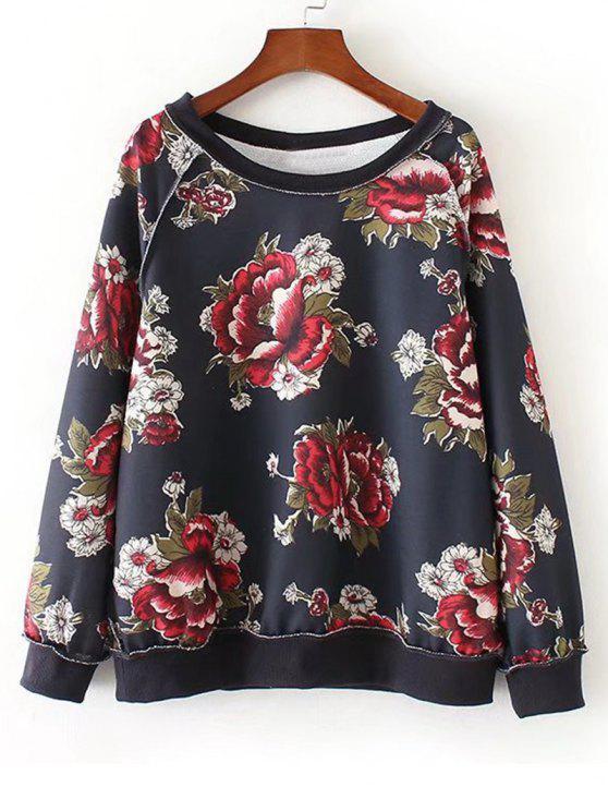 0098dd6d24 Oversized Raglan Sleeve Floral Sweatshirt FLORAL