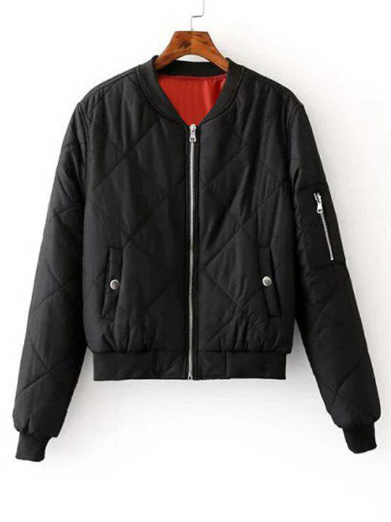 online Zip Up Padded Bomber Jacket - BLACK S