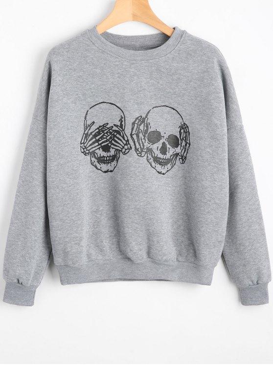 Sweat-shirt à Motif Crânes Épaules Tombantes - Gris M