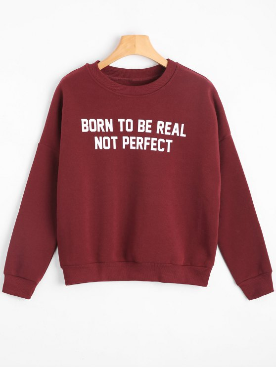 women's Crew Neck Drop Shoulder Letter Sweatshirt - DEEP RED M