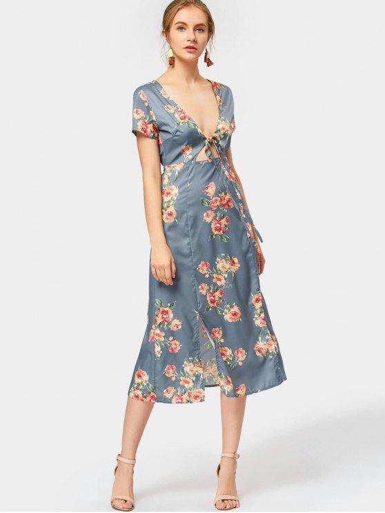 2019 Plunging Neck Slit Flower Dress In Blue Gray L Zaful