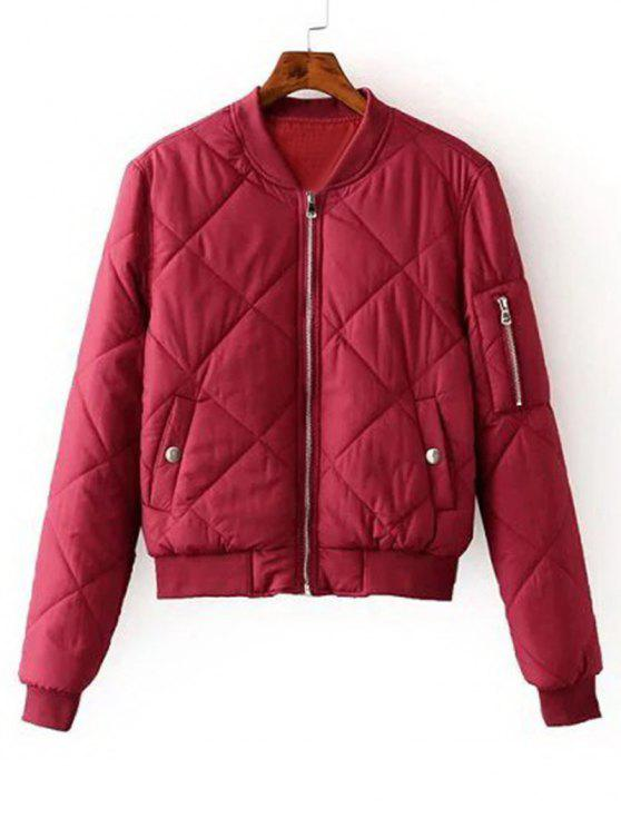 19eb3cae3a3d 39% OFF  2019 Zip Up Padded Bomber Jacket In RED