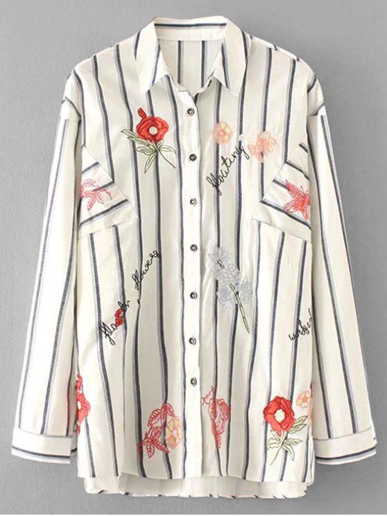 Chemise à rayures surdimensionnée à fleurs - Blanc S