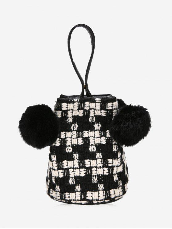 shop Contrasting Color Pom Pom Tote Bag - BLACK