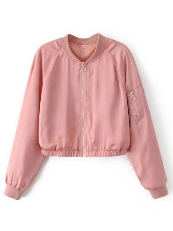 shops Cropped Zippered Sleeve Zip Up Pilot Jacket - PINK L
