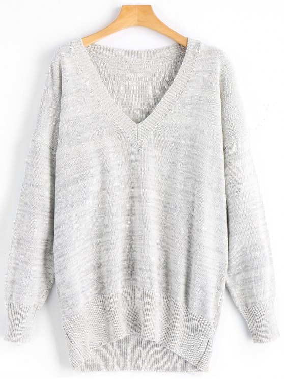 online V Neck Oversized Sweater - GRAY ONE SIZE