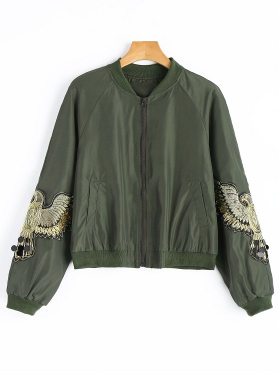 best Beaded Sequined Applique Bomber Jacket - ARMY GREEN S