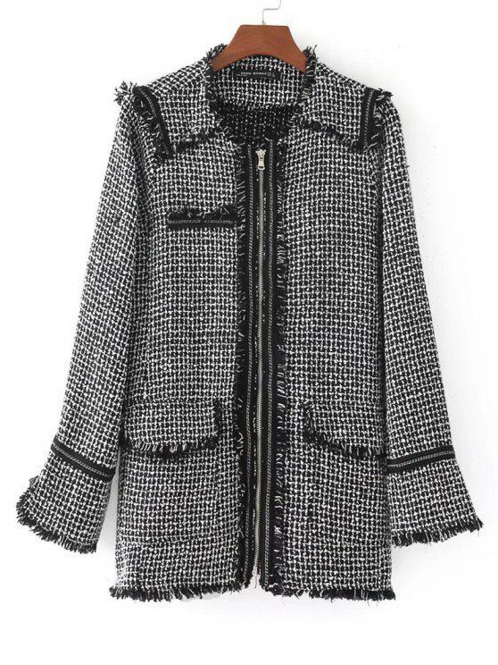 size 40 b7729 16ca4 Zip Up Cappotto con frange WHITE AND BLACK