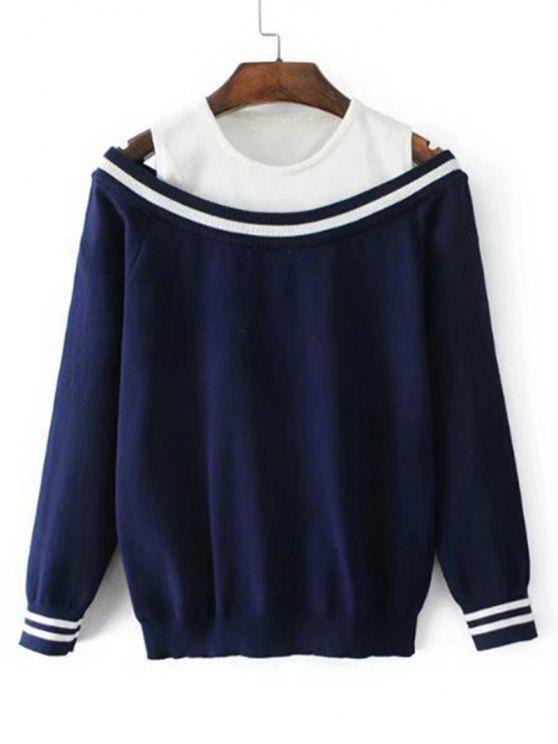 57f7cb729c7d9 31% OFF  2019 Two Tone Cold Shoulder Sweater In PURPLISH BLUE