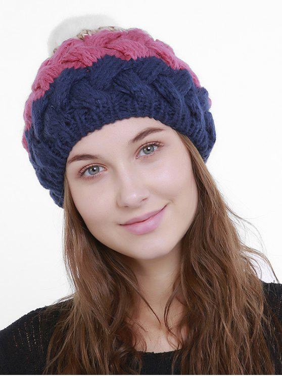 best Outdoor Crochet Pom Knit Beanie - PINK AND DARK BLUE