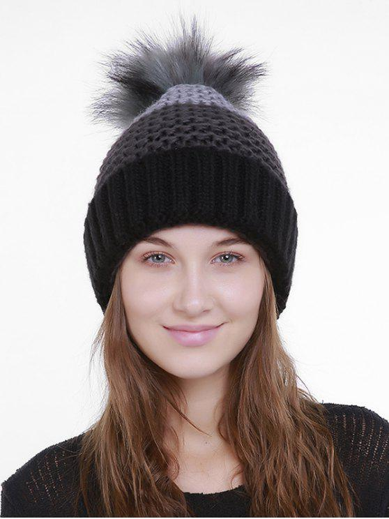 chic Outdoor Crochet Flanging Pom Knit Beanie - BLACK AND GRAY