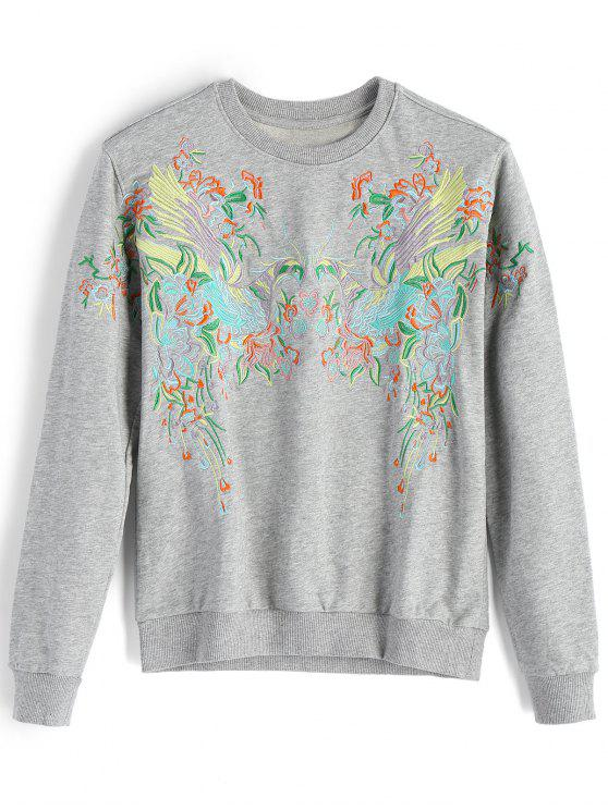 unique Loose Bird Embroidered Sweatshirt - GRAY M