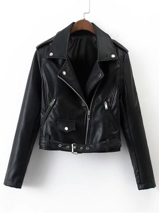 hot Belted Cropped Zip Up  Biker Jacket - BLACK L