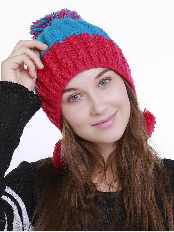 Cappello In Maglia A Pom Pom A Tinta Unita - Rosso Blu