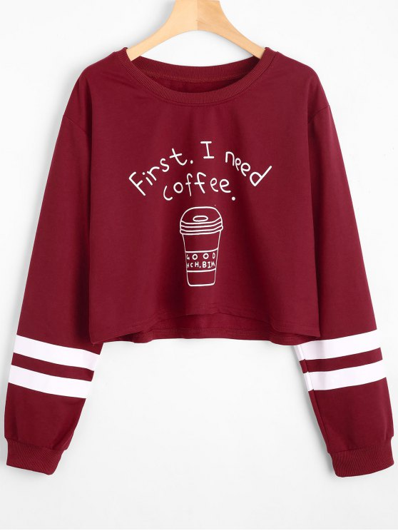 online Drop Shoulder Letter Striped Sweatshirt - DEEP RED L
