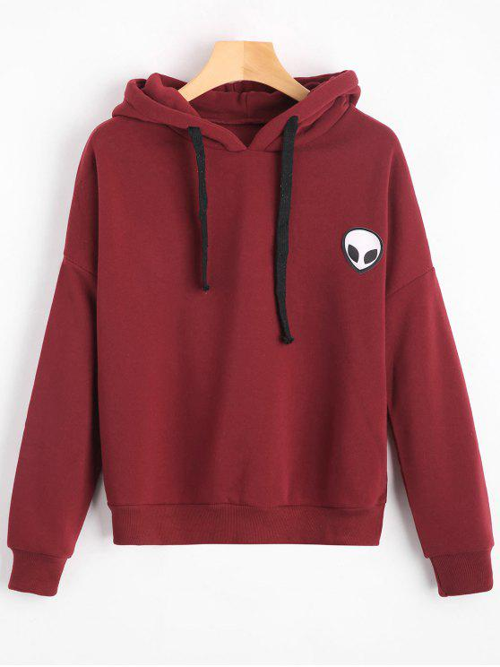 outfit Drop Shoulder Patched Drawstring Hoodie - DEEP RED ONE SIZE