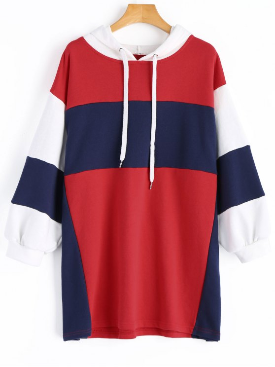 affordable Oversized Color Block Hoodie - RED S