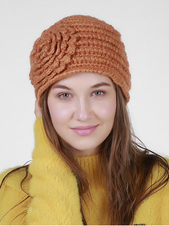 Cappello Leggero In Maglia A Righe Con Motivo Ricamato Floreale - Arancione