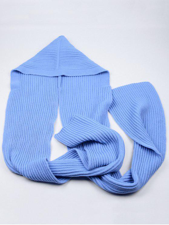 Cachecol longo com capuz de crochê ao ar livre - Azul